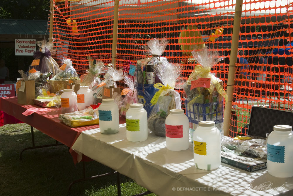 Basket raffle tables.